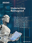 Robot with Table Underwriting Reimagined Predictive Modeling ad image